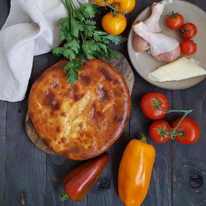 Пирог с курицей и грибами на дрожжевом тесте