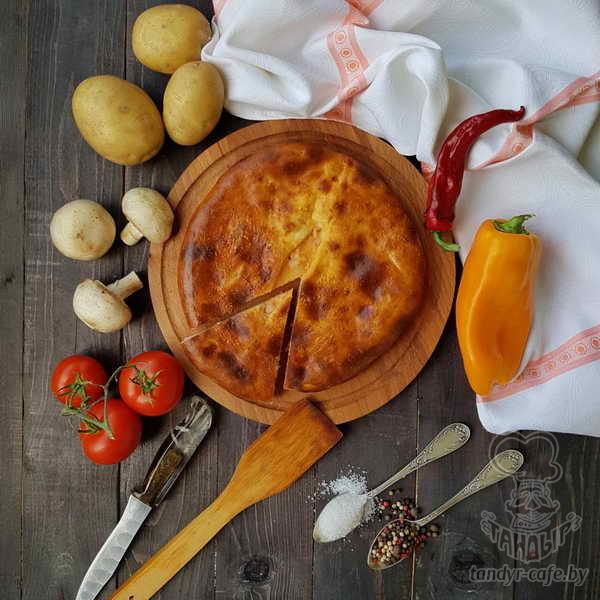 Пирог с картофелем и грибами на дрожжевом тесте