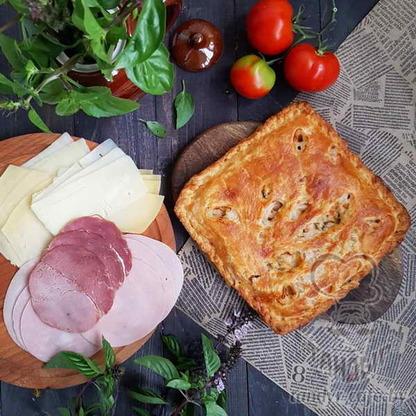 Пирог с ветчиной и сыром на слоёном тесте