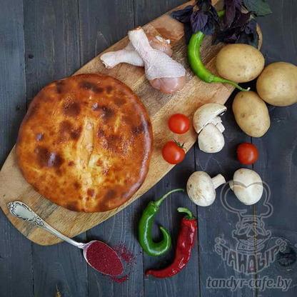 Пирог с картофелем, курицей и грибами на дрожжевом тесте